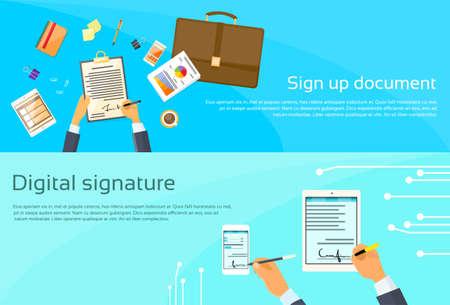 contrato de trabajo: Contrato Registrarse Empresario de documento Documento Firma Acuerdo digital del teléfono celular de la tableta de ordenador inteligente Ilustración bandera del Web del plano vectorial