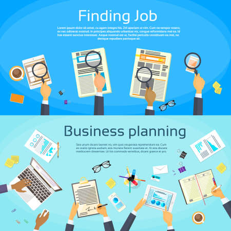 hand job: Business Planning Searching Job Web Banner Flat Vector Illustration
