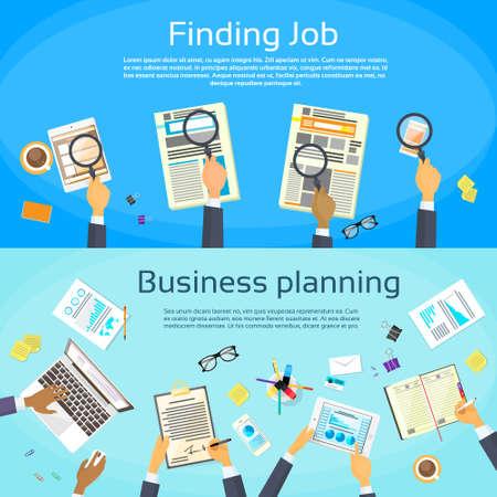 puesto de trabajo: Planificación de negocios que busca Web Trabajo Ilustración Banner plana vectorial