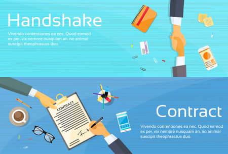 business teamwork: Handshake Businessman Contract Sign Up Paper Document, Business Man Hands Shake Pen Signature Office Desk Web Banner Flat Vector Illustration