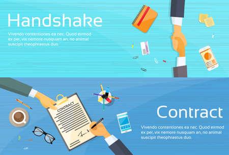 Handshake Geschäftsmann Vertrags Registrieren Papier Dokument, Geschäftsmann, die Hände zu schütteln Pen Signature-Büro-Schreibtisch-Netz-Fahne Flach Vector Illustration Vektorgrafik