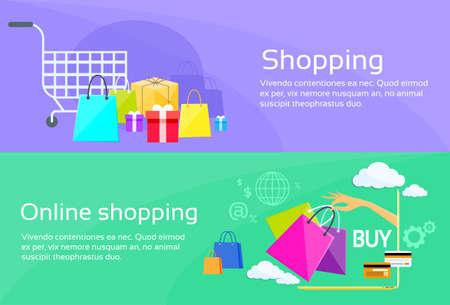 Online Shopping Bag Web Banner Commerce Flat Vector Illustration