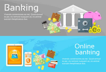 mobile banking: Online Banking Internet Electronic Payment Web Banner Set Flat Vector Illustration Illustration