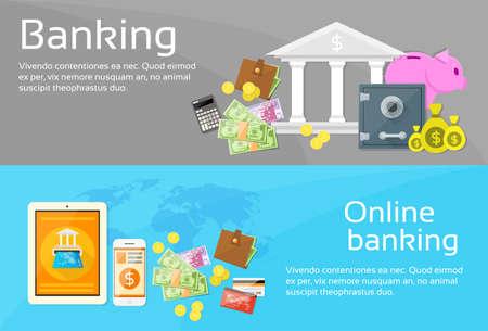 Online Banking Internet Electronic Payment Web Banner Set Flat Vector Illustration Illustration