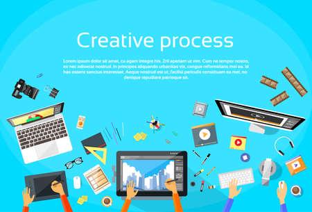designer: Creative Process Digital Designer Team Flat Vector Illustration