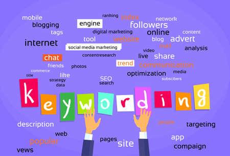 keywording: Keywording Optimization Concept Web Development Flat Vector Illustration