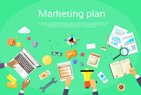 search engine marketing: Digital Marketing Plan Creative Team Flat Vector Illustration