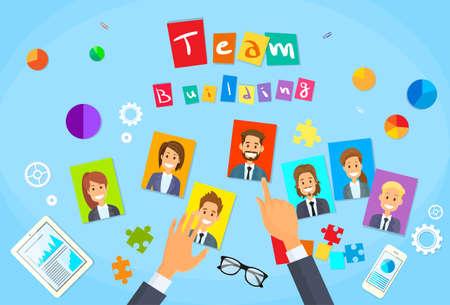 business person: Team Building Concept Hands Photos Business Person Profile Flat Vector Illustration
