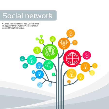 business media: Technology Tree Social Media Icons Thin Line Logo Set Vector llustration