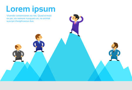 man climbing: Business People Team Standing Top Peak of High Mountain Climbing Up Flat Vector Illustration