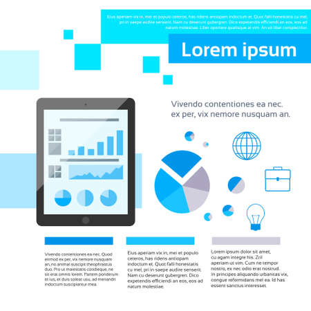 page layout: Tablet Finance Chart Infographics Web Page Layout Template Design Flat Vector Illustration