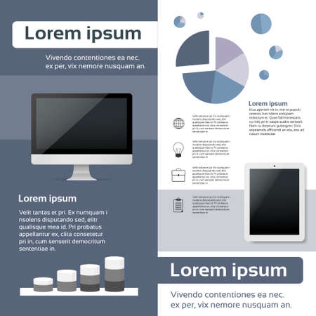 page layout: Desktop Compter Tablet Infographics Web Page Layout Template Design Flat Vector Illustration