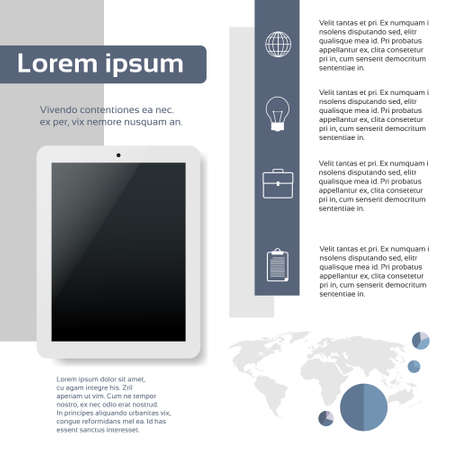page layout: Tablet Infographics Web Page Layout Template Design Flat Vector Illustration