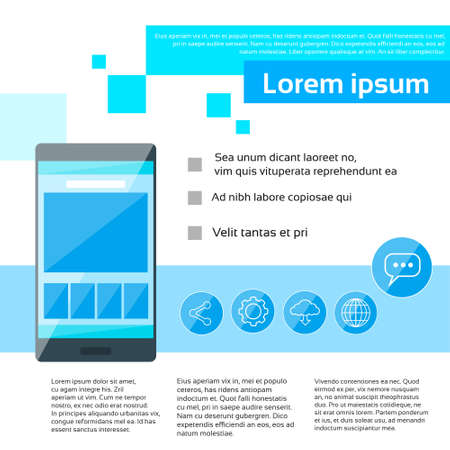 page layout: Smart Phone Infographics Web Page Layout Template Design Flat Vector Illustration Illustration