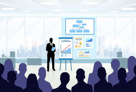 discussion meeting: Business People Group Silhouettes at Conference Meeting Flip Chart with Graph Vector Illustration