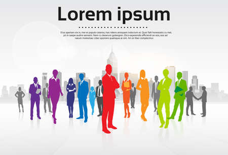 Business People Group Colorful Silhouettes Flat Vector Illustration Illustration