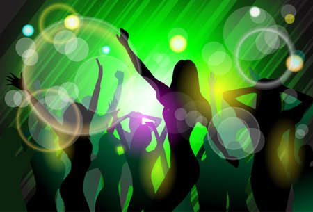 dancing club: NIght Club People Crowd Dancing Silhouettes Party Vector Illustration