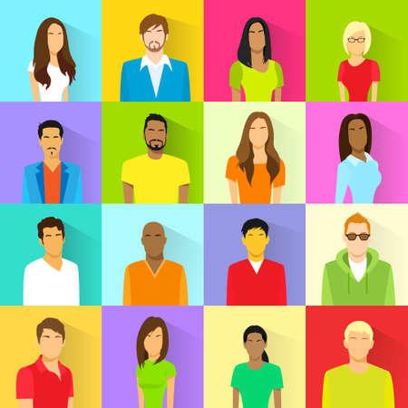 visage femme profil: Profil Set Ic�ne Avatar Mix Race