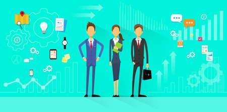business team: Business Team Flat Design Illustration