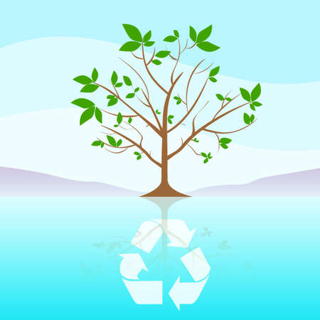green tree: Green Tree Recycle Flat Eco Icon