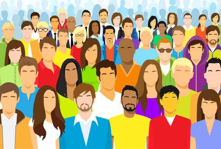 eingang leute: Gruppe beiläufige Leute Illustration