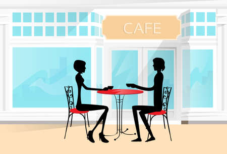 cafe table: Couple Sitting at a Cafe Table Drinking Coffee