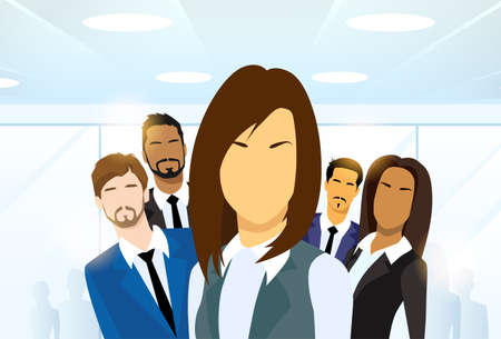diverse business team: Business Woman in group Illustration
