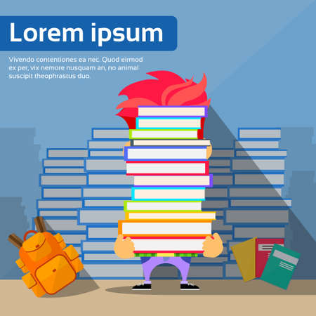pile books: Student Hold Pile Books Hide Head, School Boy Educaion Concept University Exam Stack Library Reading Flat Vector Illustration