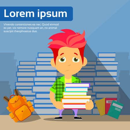 pile books: Sad Student Cartoon Guy Study Problem Hold Pile Books Flat Vector Illustration