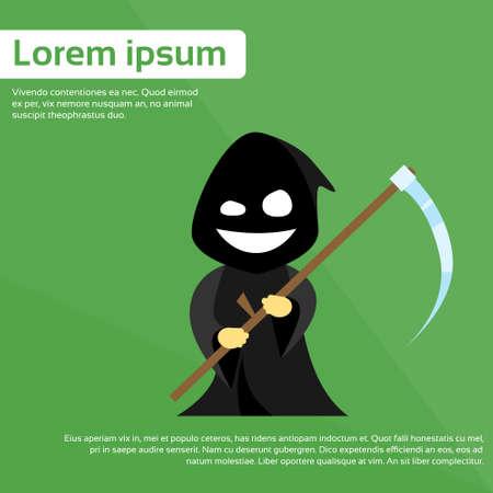 deadly danger sign: Scytheman Cartoon Grim Reaper Smile Hold Scythe Flat Vector Illustration