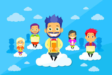 communication cartoon: Cartoon Man and Woman People Group Sitting on Clouds Use Digital Devices Computers, Tablets Smart Phones Internet Communication Connection Concept Flat Vector Illustration Illustration