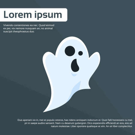 devil cartoon: Ghost Cartoon Halloween Character Flat Vector Illustration Illustration