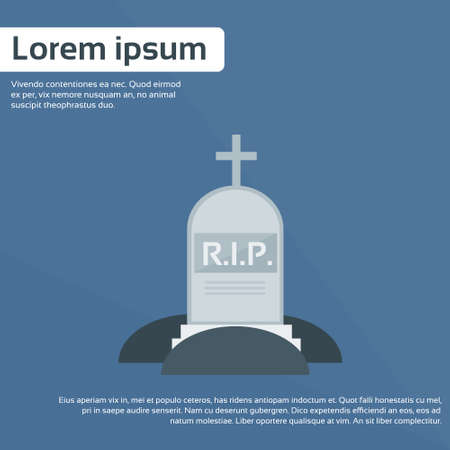 graves: Tomb Grave Icon RIP Stone Flat Vector Illustration