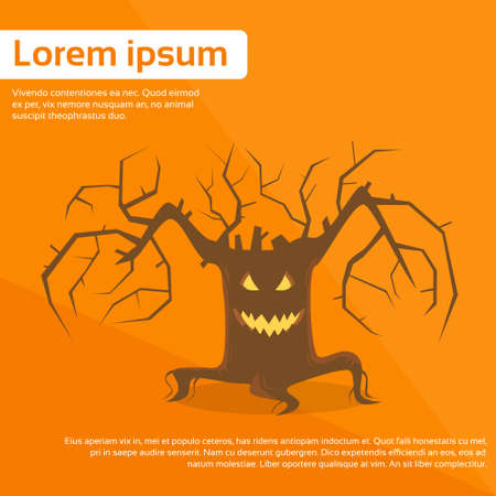 halloween scary: Halloween Scary Tree Smile Face Eyes Flat Vector Illustration