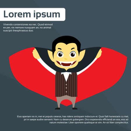 Vampire Cartoon Man Character Flat Vector Illustration