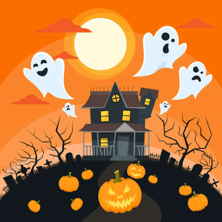 halloween tree: Halloween House Goust Pumpkin Face Party Invitation Card Flat Vector Illustration Illustration