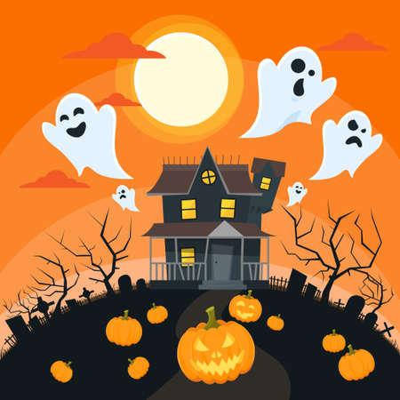 brujas caricatura: Tarjeta de la invitación de Halloween Goust partido de la cara de la calabaza Ilustración de la casa Piso vectorial