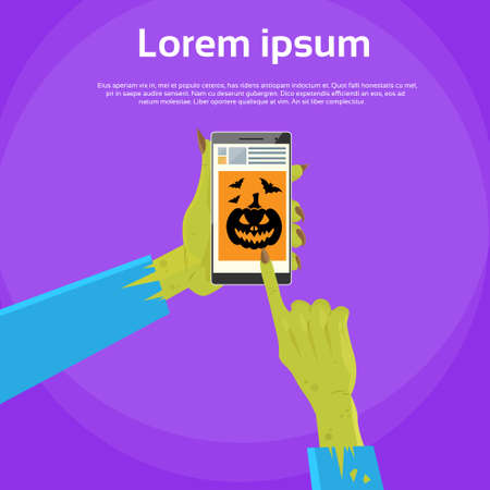 finger touch: Zombie Hand Hold Cell Smark Phone Point Finger Touch Screen Flat Vector Illustration Illustration