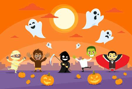 demonio: Los monstruos de Halloween Banner Tarjeta Zobmbie Vampire Santo Muerte Parca Ilustración del hombre lobo plana vectorial