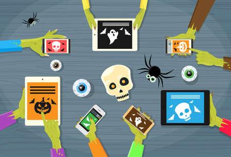 correo electronico: Ilustración Zombie mano Tablet Computer Móvil plana vectorial Vectores
