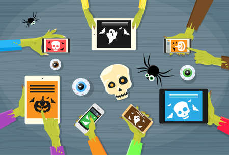 using phone: Zombie Hand Tablet Computer Smart Phone Flat Vector Illustration Illustration