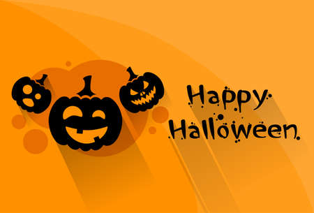 scary face: Pumpkin Halloween Scary Face Character Orange Flat Logo Web Banner Flat Vector Illustration
