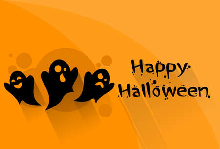 ghost cartoon: Ghost Cartoon Halloween Night Party Character Web Banner Flyer Flat Vector Illustration