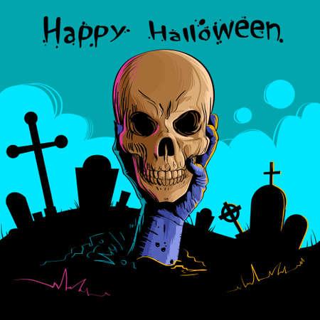 undead: Zombie Hand Hold Dead Skull Head Undead Arm From Ground Graveyard Halloween Vector Illustration