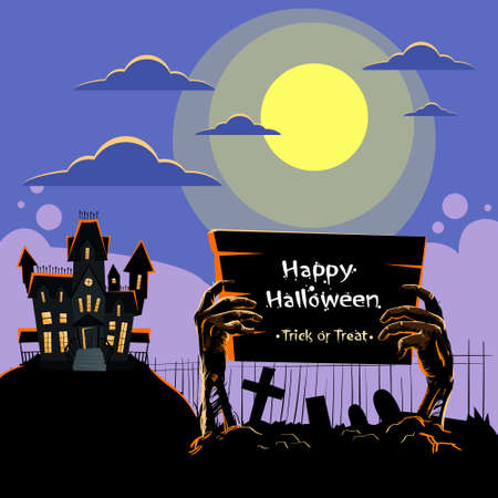 Zombie Hand Hold Board Dead Arms From Ground Graveyard Invitation Halloween House Party Flat Vector Illustration