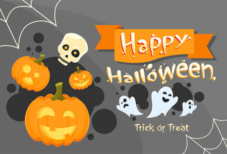 Happy Halloween Banner Invitation Card Ghost Pumpkin Face Web Flat Vector Illustration Illustration