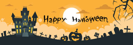 spooky graveyard: Halloween House Cemetery Graveyard Card Pumpkin Face Banner Flat Vector Illustration