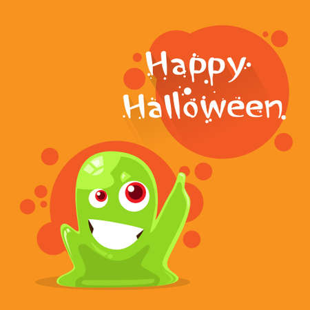 slime: Jelly Monster Green Alien Character Point Finger Up Flat Vector Illustration Illustration