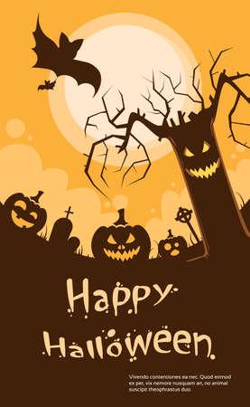evil face: Halloween Pumpkin Scary Tree Smile Evil Face Party Invitation Card Flat Vector Illustration