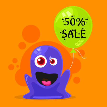 face off: Jelly Monster Sale Promotion Balloon Shopping Discount Banner Alien Character Flat Vector Illustration